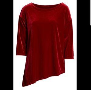 Halogen Asymmetrical Velvet Tunic Burgundy Size S